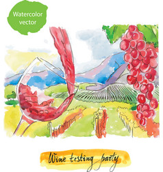 Wine testing party watercolor vector