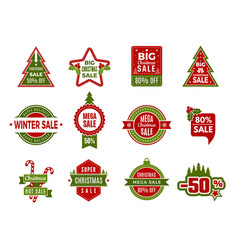 winter holiday sales christmas badges or labels vector image