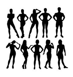Woman set silhouettes vector