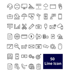 50 user interface line icon vector image vector image