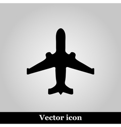 Black plane modern web icon on grey background vector image