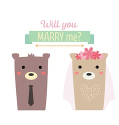 married bear vector image vector image