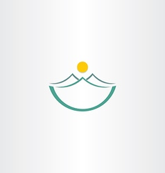 mountains and sun stilyzed landscape icon vector image