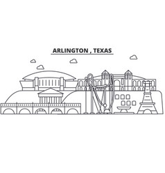 arlington texas architecture line skyline vector image vector image
