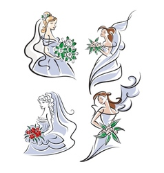 Bride holding bouquet of flowers vector image