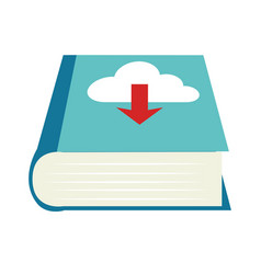 color book with cloud download service vector image vector image
