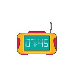 Digital clock with radio flat icon vector