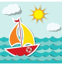 sailing boat sticker vector image