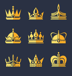 set of rich golden crowns flat vector image vector image