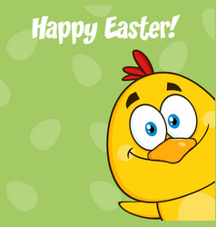 smiling yellow chick cartoon character vector image vector image