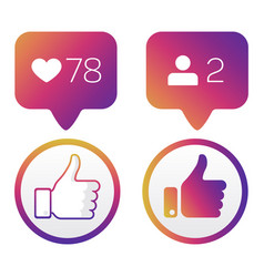 thumb up like icons like follower icons vector image vector image