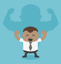Young African businessman shadow is strong vector image