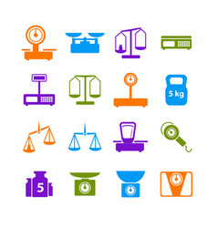 cartoon weight scales silhouette color icons set vector image vector image