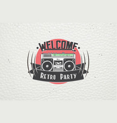 color sticker retro party disco music event at vector image