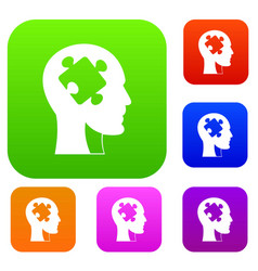 head with puzzle set color collection vector image vector image