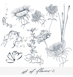 set of flowers 2 vector image