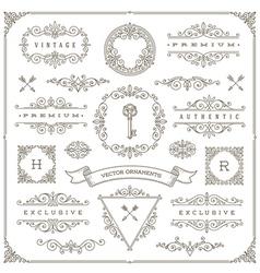 Set of vintage ornaments design elements vector image vector image