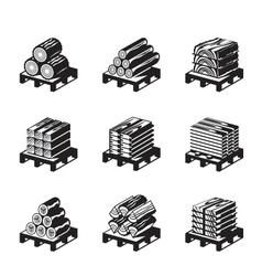 Wood materials icon set vector image vector image