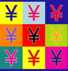 yen sign pop-art style colorful icons set vector image