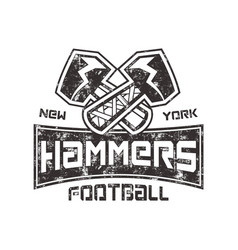 american football logo hammers new york sign vector image