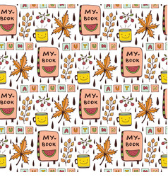 autumn seamless pattern with funny doodles cute vector image
