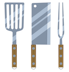 colorful cartoon bbq cutlery set vector image