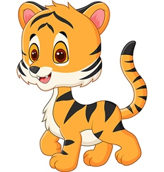 Cute baby tiger posing isolated vector image vector image