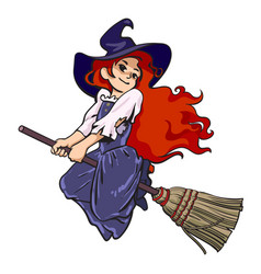 cute young halloween witch flying on broom vector image