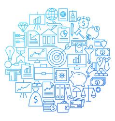 finance line icon circle design vector image vector image