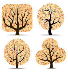 four trees with yellow leaves vector image vector image