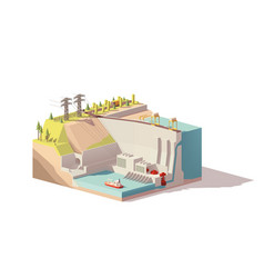 low poly hydroelectric power station vector image vector image