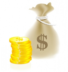 moneybag and coin vector image