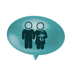 oval speech with pictogram of couple and baby vector image vector image