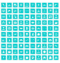 100 favorite work icons set grunge blue vector image