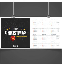 2019 christmas calendar template vector