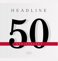 50th anniversary banner template journal cover vector