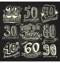 Anniversary signs chalkboard set vector image
