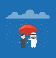 arab businessman sharing an umbrella with arab vector image
