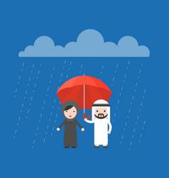 Arab businessman sharing an umbrella with vector
