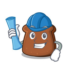 architect brown bread character cartoon vector image