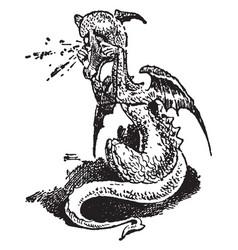Baby dragon crying vintage vector