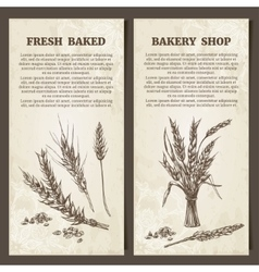 Bakery banner Set of cards template Hand drawn vector