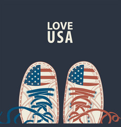 banner with words love usa and white sneakers vector image