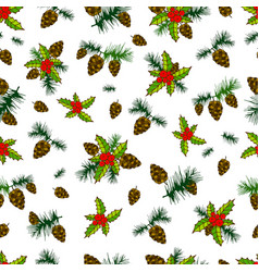 Beautiful festive seamless background cones pine vector