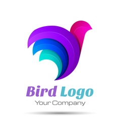 Bird abstract volume logo colorful 3d design vector