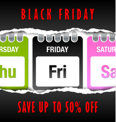 black friday calendar on white background with vector image