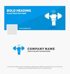 Blue business logo template for dumbbell gain vector