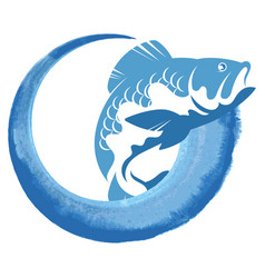 Blue wave and appetizing fish design vector