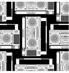 Boombox retro pattern seamless tape recorder vector