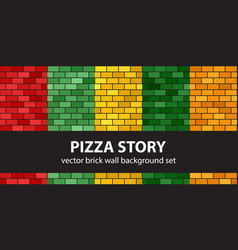 Brick pattern set pizza story seamless brick vector